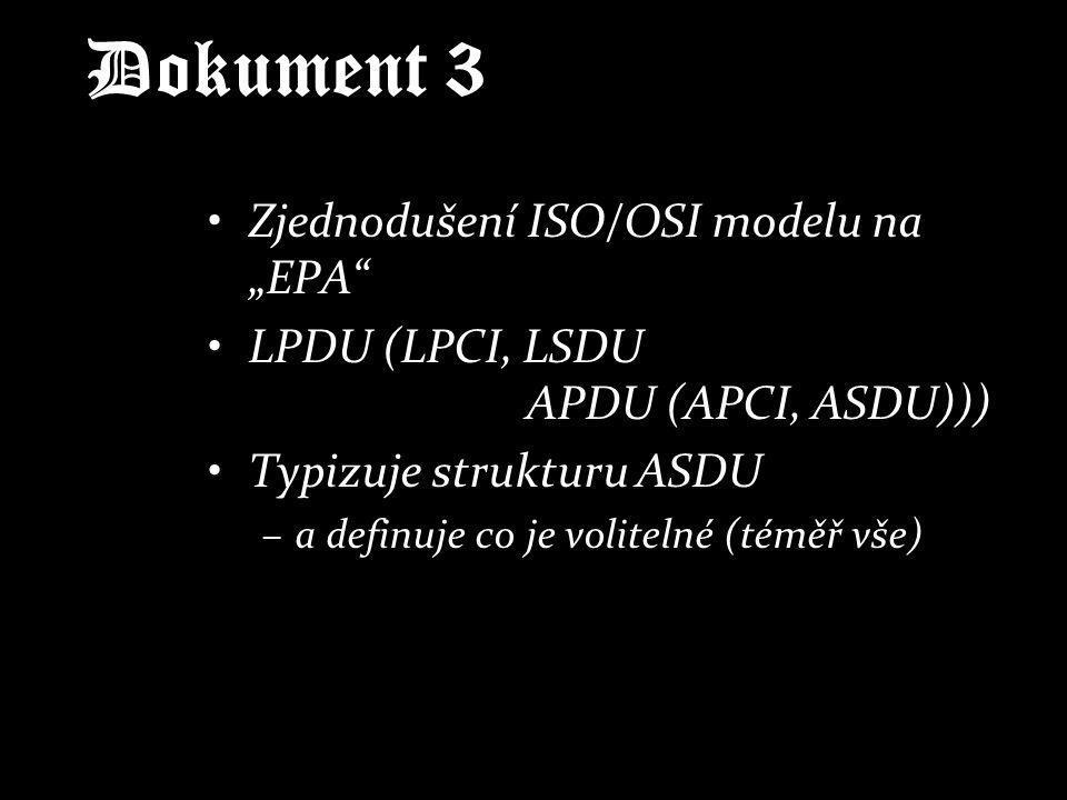 Dokument 4 Definice datových typů –číslo, bitový řetězec, oktetový řetězec Normalizované datové prvky –klasická čísla, BCD, s/bez znaménka, s/bez řadové čárky, reálné číslo (float) Doporučené informační prvky –povely, čísla (2b, 5b, 6b, 8b, 12b, 14b), zarovnané zleva/zprava –indikace chyby, přetečení, normalizace –dva typy času (snad jediné dále použité)