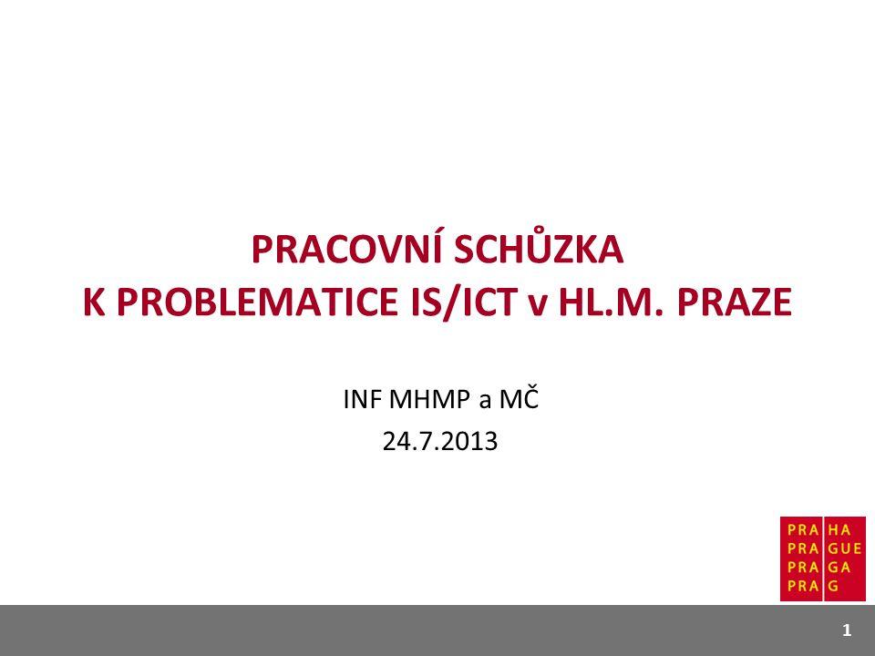 PRACOVNÍ SCHŮZKA K PROBLEMATICE IS/ICT v HL.M. PRAZE INF MHMP a MČ 24.7.2013 1