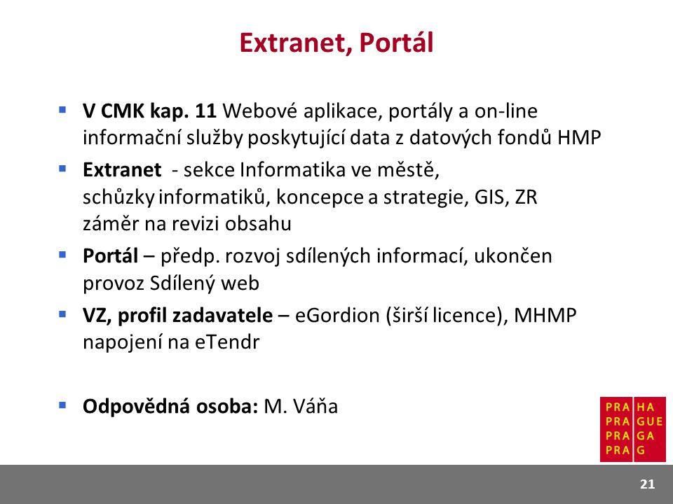 Extranet, Portál  V CMK kap. 11 Webové aplikace, portály a on-line informační služby poskytující data z datových fondů HMP  Extranet - sekce Informa