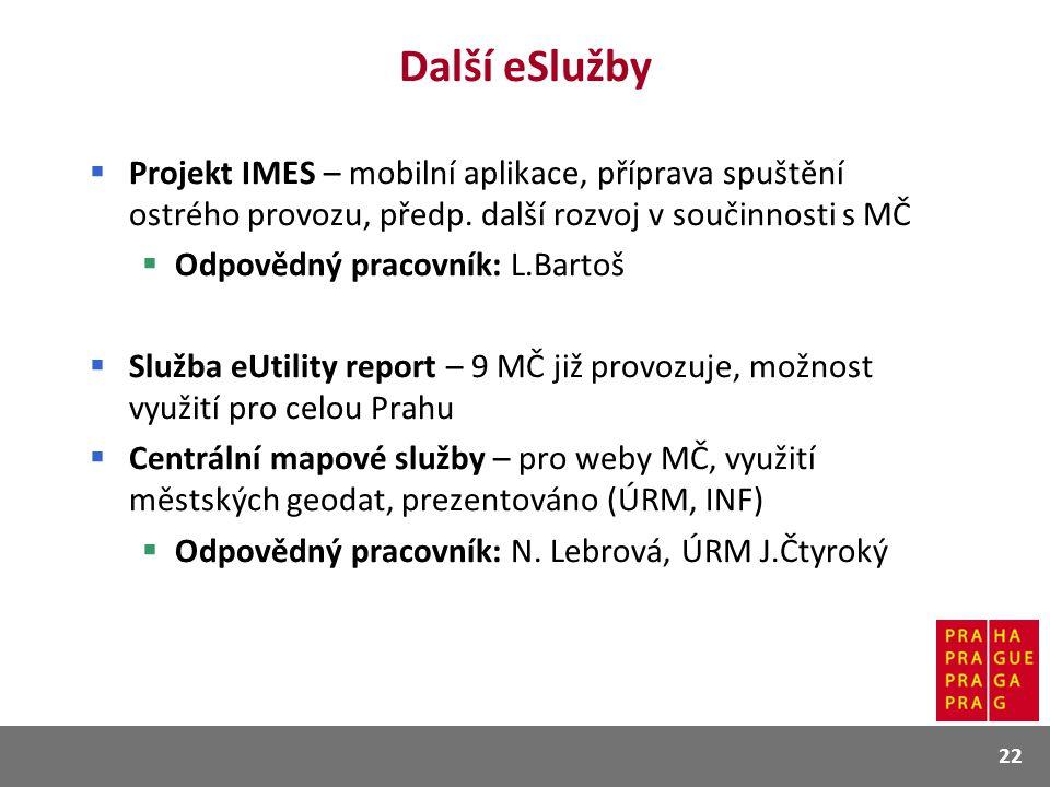 Další eSlužby  Projekt IMES – mobilní aplikace, příprava spuštění ostrého provozu, předp. další rozvoj v součinnosti s MČ  Odpovědný pracovník: L.Ba