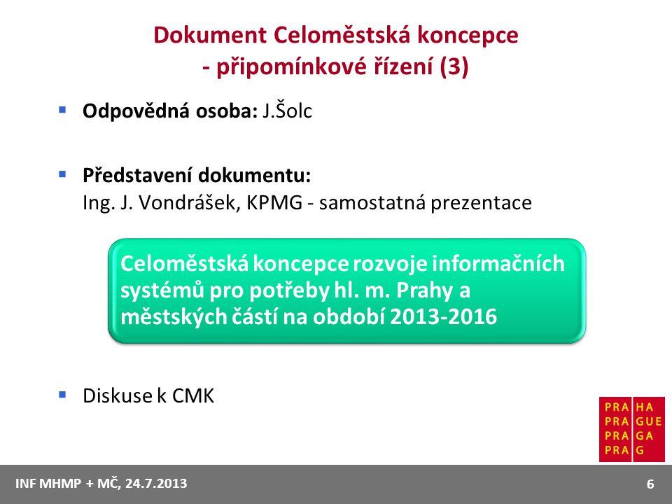 Dokument Celoměstská koncepce - připomínkové řízení (3)  Odpovědná osoba: J.Šolc  Představení dokumentu: Ing. J. Vondrášek, KPMG - samostatná prezen