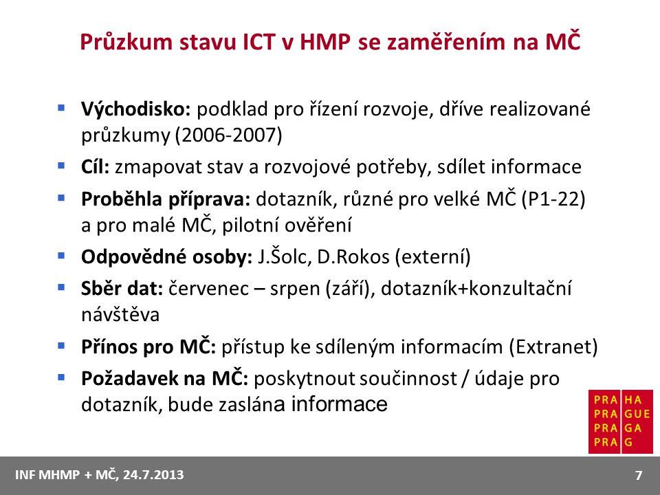 Průzkum stavu ICT v HMP se zaměřením na MČ  Východisko: podklad pro řízení rozvoje, dříve realizované průzkumy (2006-2007)  Cíl: zmapovat stav a roz