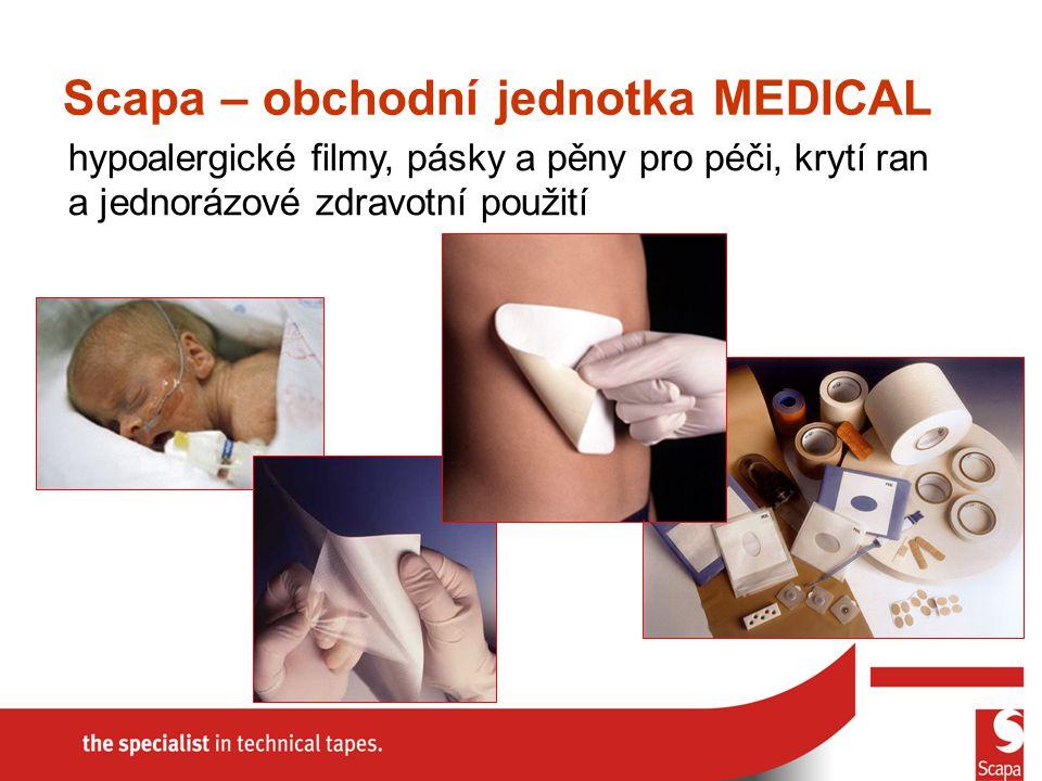 hypoalergické filmy, pásky a pěny pro péči, krytí ran a jednorázové zdravotní použití Scapa – obchodní jednotka MEDICAL