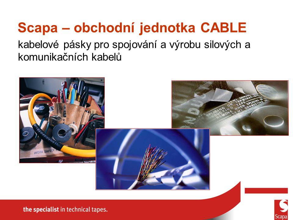 kabelové pásky pro spojování a výrobu silových a komunikačních kabelů Scapa – obchodní jednotka CABLE