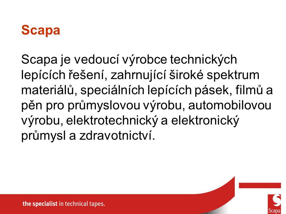 Scapa je vedoucí výrobce technických lepících řešení, zahrnující široké spektrum materiálů, speciálních lepících pásek, filmů a pěn pro průmyslovou výrobu, automobilovou výrobu, elektrotechnický a elektronický průmysl a zdravotnictví.