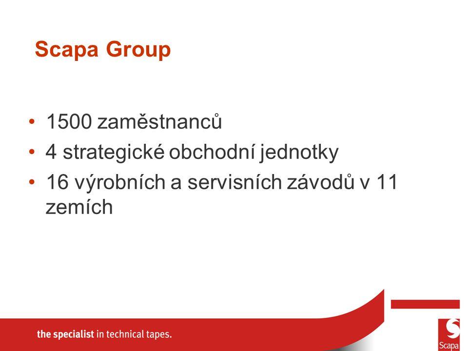 Scapa Group 1500 zaměstnanců 4 strategické obchodní jednotky 16 výrobních a servisních závodů v 11 zemích