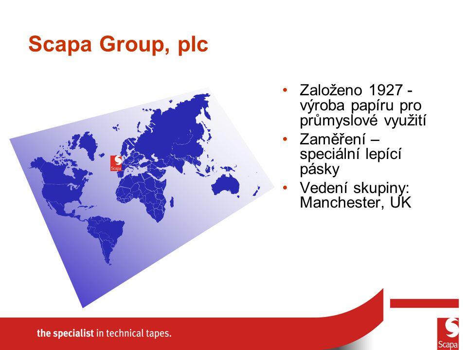 Scapa Group, plc Založeno 1927 - výroba papíru pro průmyslové využití Zaměření – speciální lepící pásky Vedení skupiny: Manchester, UK