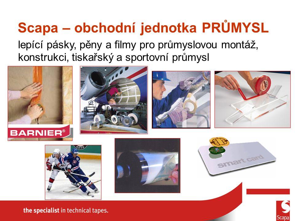lepící pásky, pěny a filmy pro průmyslovou montáž, konstrukci, tiskařský a sportovní průmysl Scapa – obchodní jednotka PRŮMYSL