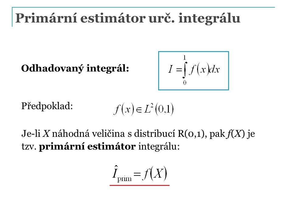 Primární estimátor urč. integrálu Odhadovaný integrál: Předpoklad: Je-li X náhodná veličina s distribucí R(0,1), pak f(X) je tzv. primární estimátor i