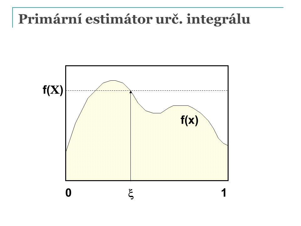 Primární estimátor urč. integrálu  f(x) f( X ) 01