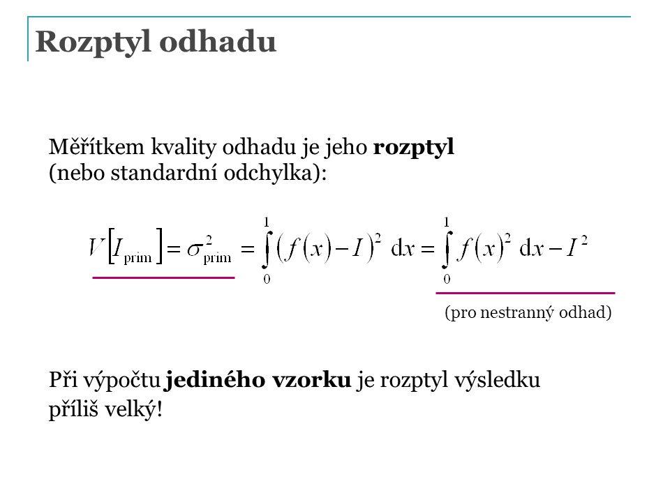 Rozptyl odhadu Měřítkem kvality odhadu je jeho rozptyl (nebo standardní odchylka): Při výpočtu jediného vzorku je rozptyl výsledku příliš velký! (pro