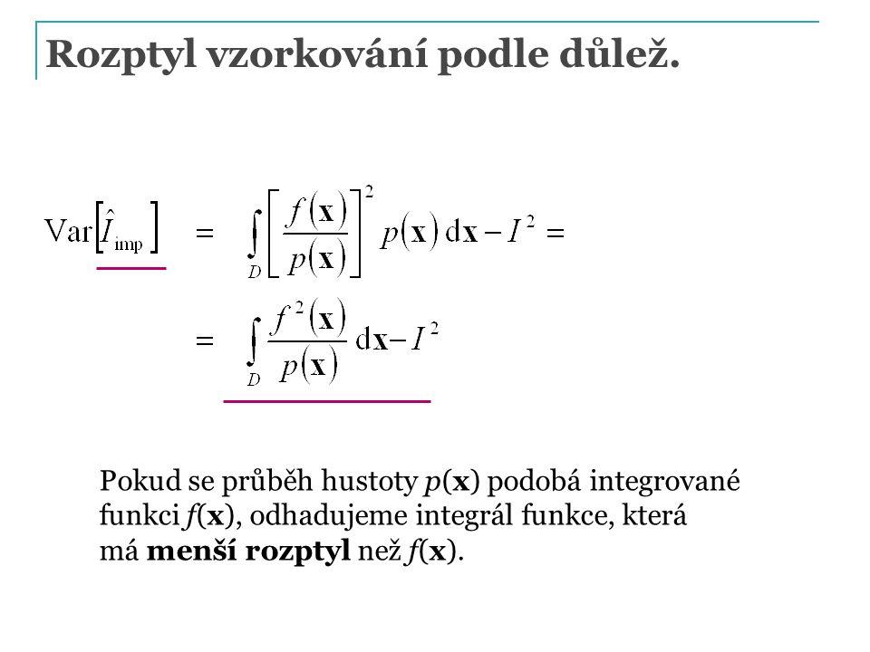 Rozptyl vzorkování podle důlež. Pokud se průběh hustoty p(x) podobá integrované funkci f(x), odhadujeme integrál funkce, která má menší rozptyl než f(