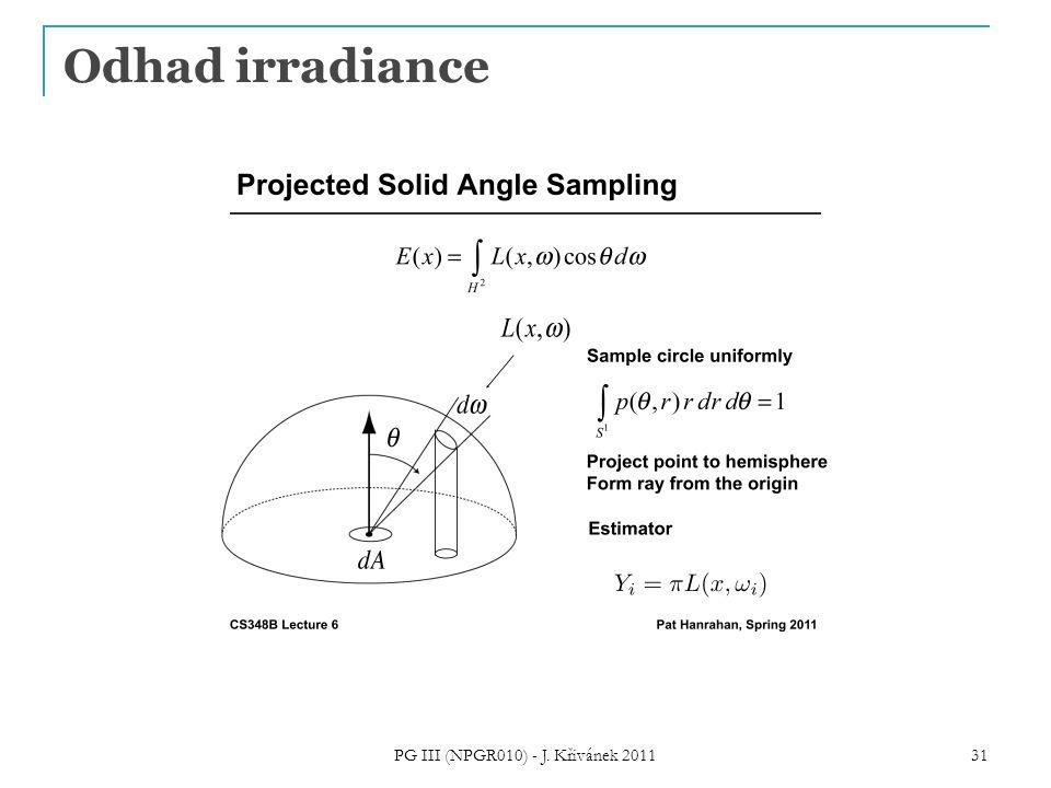 Odhad irradiance PG III (NPGR010) - J. Křivánek 2011 31