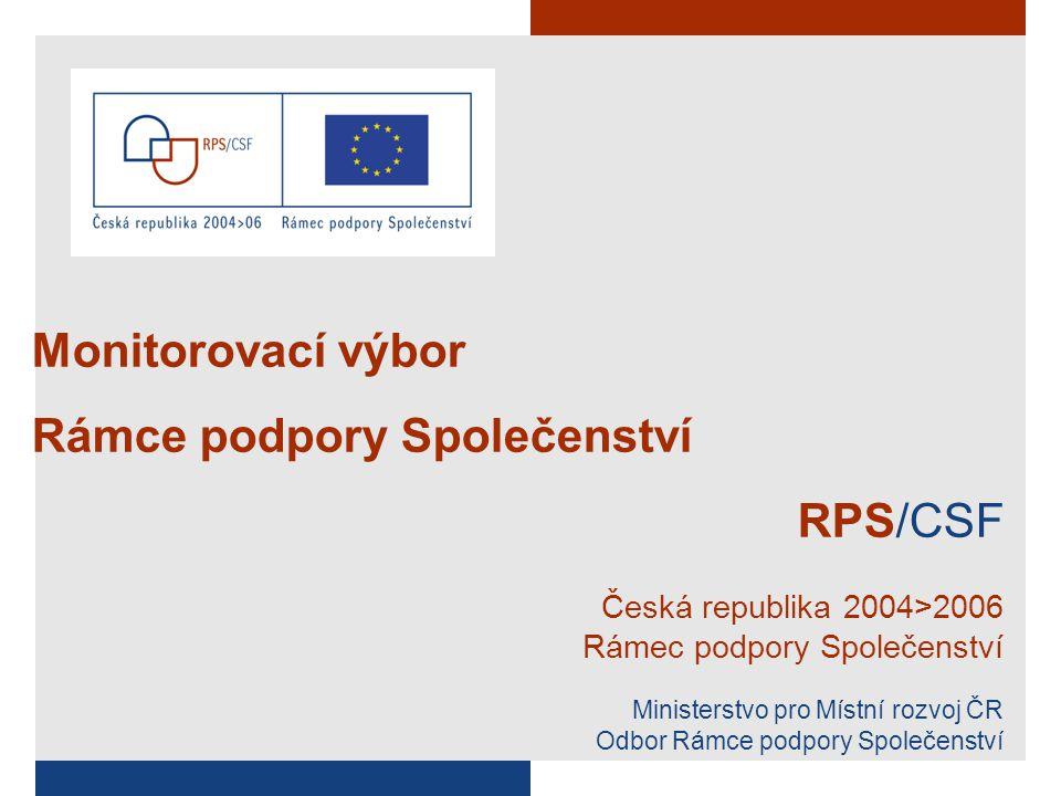 Monitorovací výbor Rámce podpory Společenství RPS/CSF Česká republika 2004>2006 Rámec podpory Společenství Ministerstvo pro Místní rozvoj ČR Odbor Rámce podpory Společenství