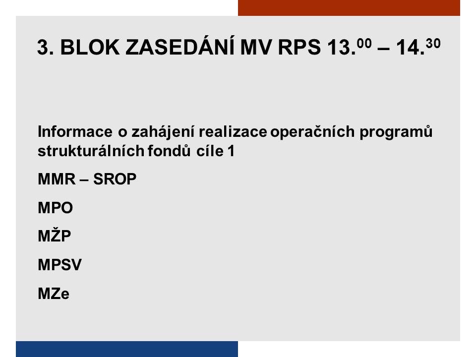 3. BLOK ZASEDÁNÍ MV RPS 13. 00 – 14. 30 Informace o zahájení realizace operačních programů strukturálních fondů cíle 1 MMR – SROP MPO MŽP MPSV MZe