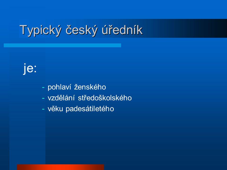 Typický český úředník je: -pohlaví ženského -vzdělání středoškolského -věku padesátiletého