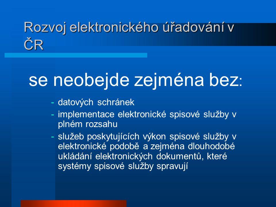 Rozvoj elektronického úřadování v ČR se neobejde zejména bez : -datových schránek -implementace elektronické spisové služby v plném rozsahu -služeb poskytujících výkon spisové služby v elektronické podobě a zejména dlouhodobé ukládání elektronických dokumentů, které systémy spisové služby spravují