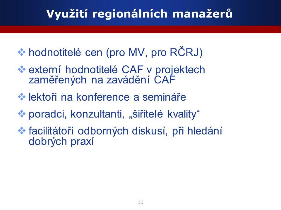 """11 Využití regionálních manažerů  hodnotitelé cen (pro MV, pro RČRJ)  externí hodnotitelé CAF v projektech zaměřených na zavádění CAF  lektoři na konference a semináře  poradci, konzultanti, """"šiřitelé kvality  facilitátoři odborných diskusí, při hledání dobrých praxí"""