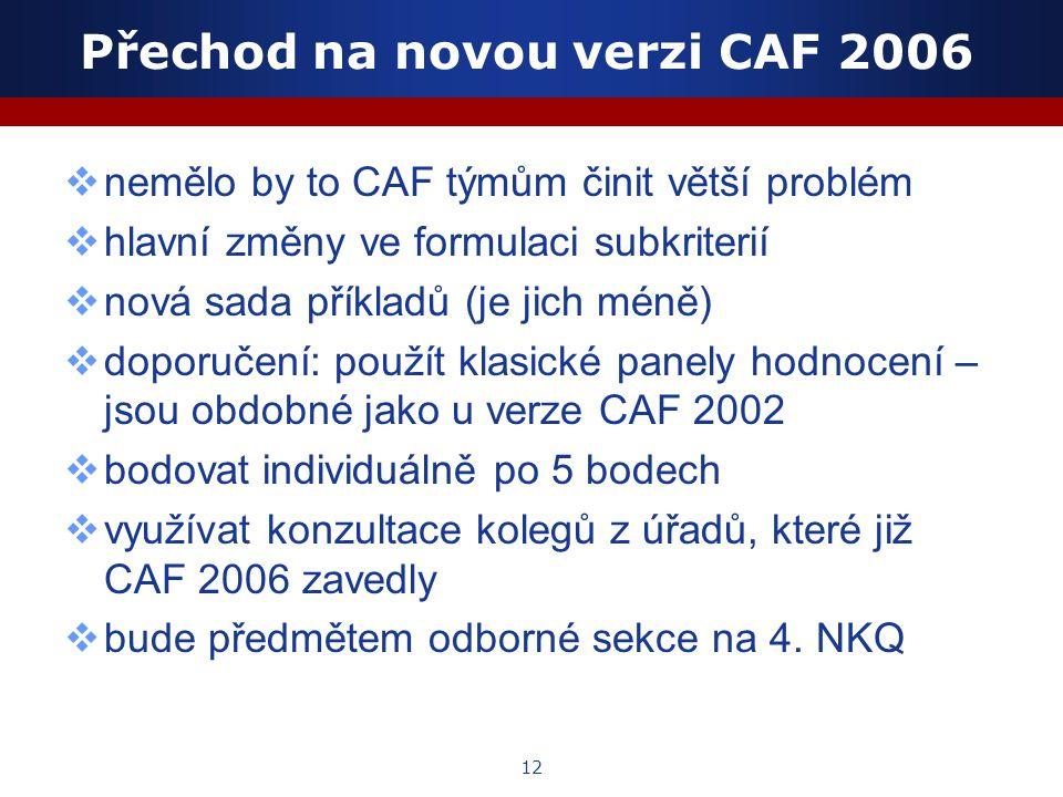 12 Přechod na novou verzi CAF 2006  nemělo by to CAF týmům činit větší problém  hlavní změny ve formulaci subkriterií  nová sada příkladů (je jich méně)  doporučení: použít klasické panely hodnocení – jsou obdobné jako u verze CAF 2002  bodovat individuálně po 5 bodech  využívat konzultace kolegů z úřadů, které již CAF 2006 zavedly  bude předmětem odborné sekce na 4.