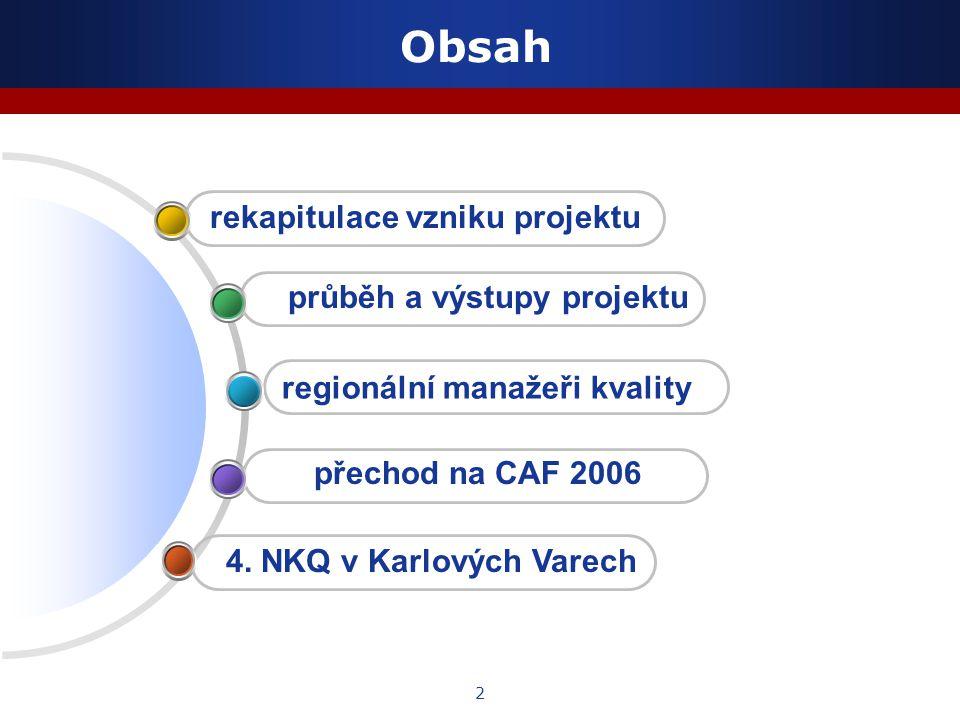 2 Obsah regionální manažeři kvality rekapitulace vzniku projektu průběh a výstupy projektu 4. NKQ v Karlových Varech přechod na CAF 2006
