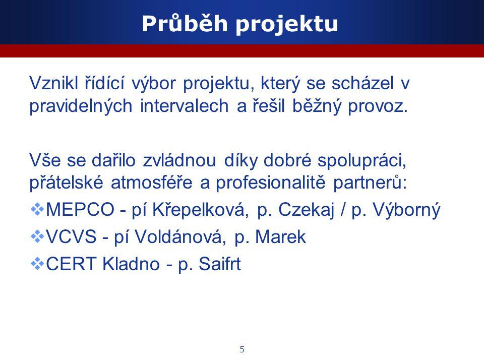 5 Průběh projektu Vznikl řídící výbor projektu, který se scházel v pravidelných intervalech a řešil běžný provoz.