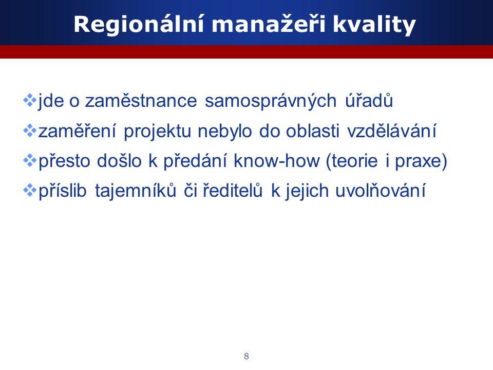 8 Regionální manažeři kvality  jde o zaměstnance samosprávných úřadů  zaměření projektu nebylo do oblasti vzdělávání  přesto došlo k předání know-h