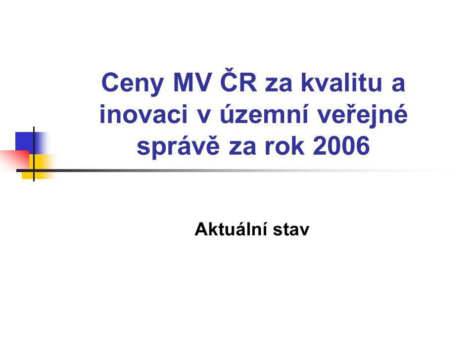 Ceny MV ČR za kvalitu a inovaci v územní veřejné správě za rok 2006 Aktuální stav
