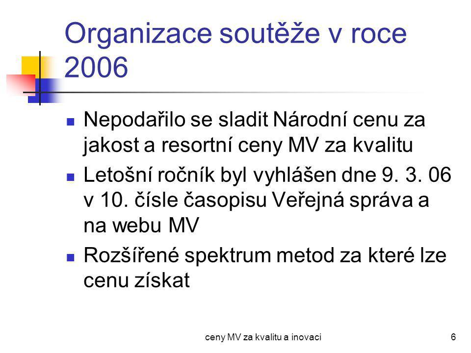 ceny MV za kvalitu a inovaci6 Organizace soutěže v roce 2006 Nepodařilo se sladit Národní cenu za jakost a resortní ceny MV za kvalitu Letošní ročník byl vyhlášen dne 9.