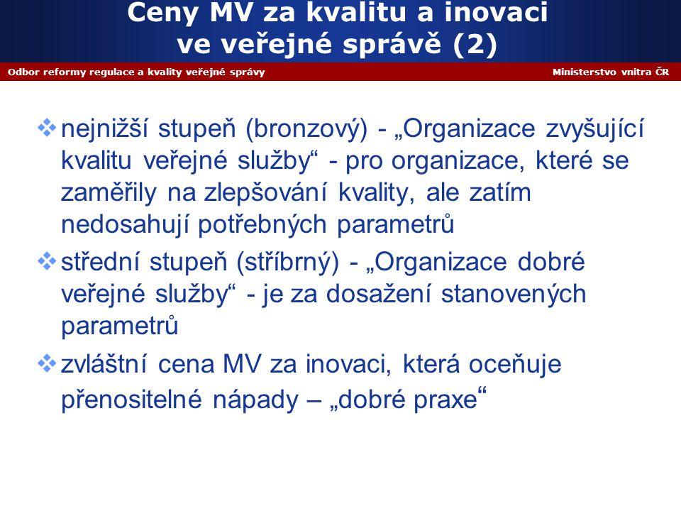 """Odbor reformy regulace a kvality veřejné správy Ministerstvo vnitra ČR Ceny MV za kvalitu a inovaci ve veřejné správě (2)  nejnižší stupeň (bronzový) - """"Organizace zvyšující kvalitu veřejné služby - pro organizace, které se zaměřily na zlepšování kvality, ale zatím nedosahují potřebných parametrů  střední stupeň (stříbrný) - """"Organizace dobré veřejné služby - je za dosažení stanovených parametrů  zvláštní cena MV za inovaci, která oceňuje přenositelné nápady – """"dobré praxe"""