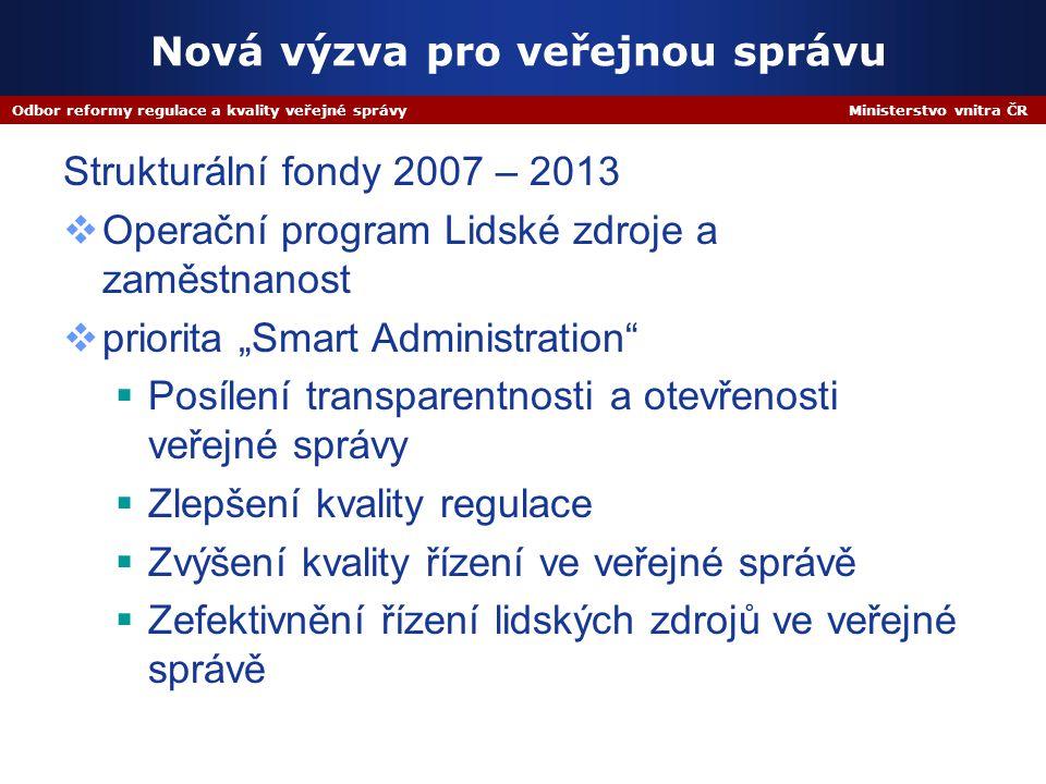 Odbor reformy regulace a kvality veřejné správy Ministerstvo vnitra ČR Nová výzva pro veřejnou správu Strukturální fondy 2007 – 2013  Operační progra