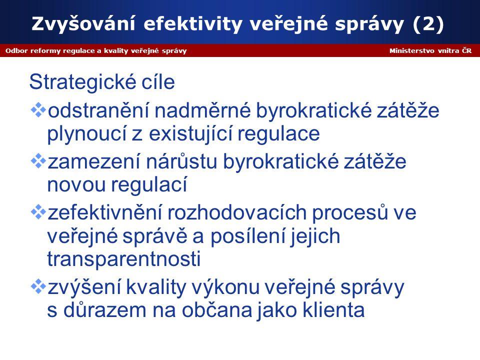 Odbor reformy regulace a kvality veřejné správy Ministerstvo vnitra ČR Zvyšování efektivity veřejné správy (2) Strategické cíle  odstranění nadměrné