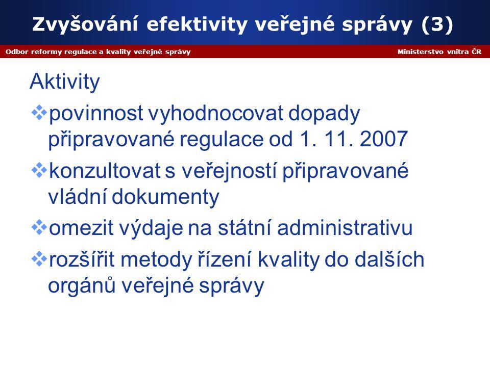 Odbor reformy regulace a kvality veřejné správy Ministerstvo vnitra ČR Zvyšování efektivity veřejné správy (3) Aktivity  povinnost vyhodnocovat dopady připravované regulace od 1.