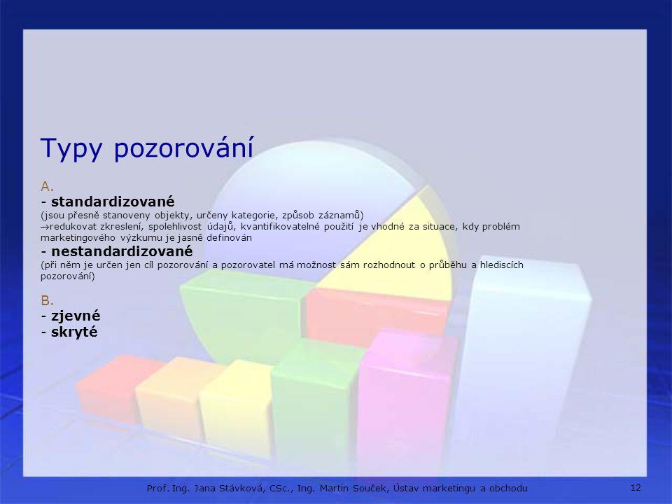 12 Prof. Ing. Jana Stávková, CSc., Ing. Martin Souček, Ústav marketingu a obchodu Typy pozorování A. - standardizované (jsou přesně stanoveny objekty,