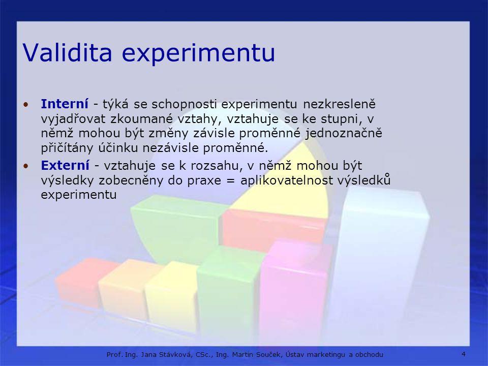 4 Prof. Ing. Jana Stávková, CSc., Ing. Martin Souček, Ústav marketingu a obchodu Validita experimentu Interní - týká se schopnosti experimentu nezkres