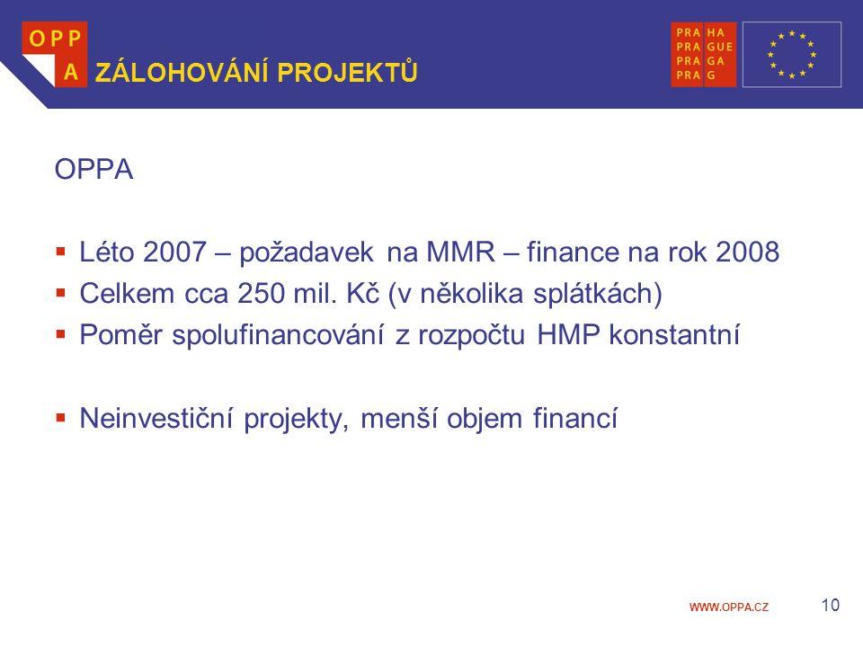 WWW.OPPA.CZ 10 ZÁLOHOVÁNÍ PROJEKTŮ OPPA  Léto 2007 – požadavek na MMR – finance na rok 2008  Celkem cca 250 mil.