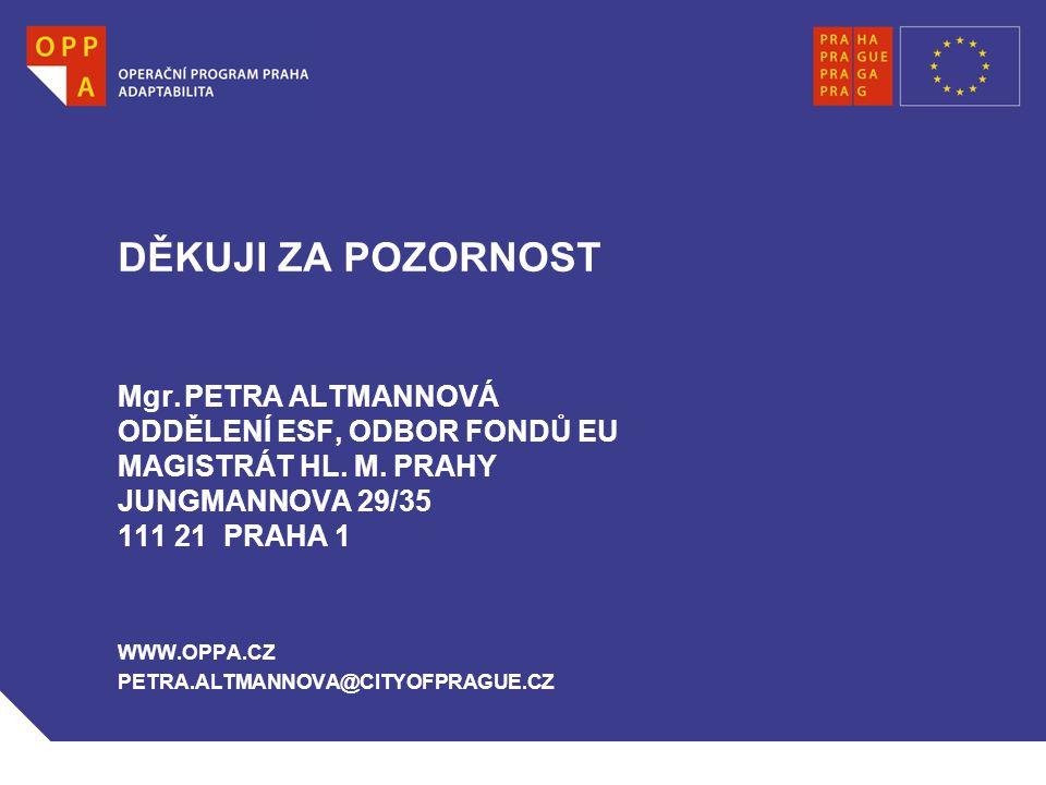 DĚKUJI ZA POZORNOST Mgr. PETRA ALTMANNOVÁ ODDĚLENÍ ESF, ODBOR FONDŮ EU MAGISTRÁT HL.