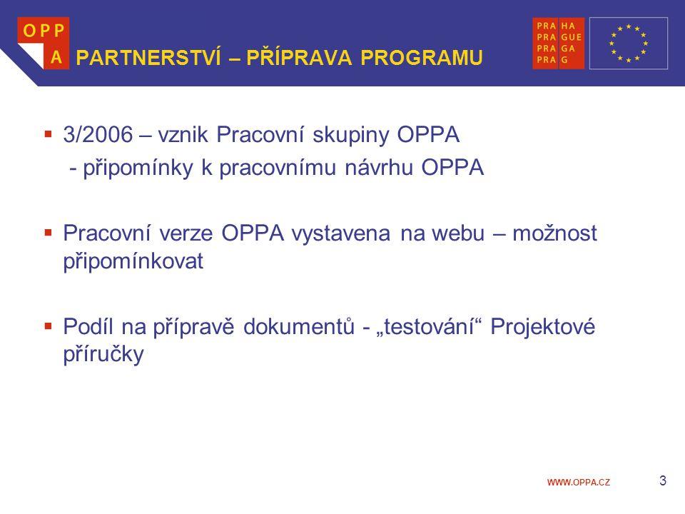 """WWW.OPPA.CZ 3 PARTNERSTVÍ – PŘÍPRAVA PROGRAMU  3/2006 – vznik Pracovní skupiny OPPA - připomínky k pracovnímu návrhu OPPA  Pracovní verze OPPA vystavena na webu – možnost připomínkovat  Podíl na přípravě dokumentů - """"testování Projektové příručky"""