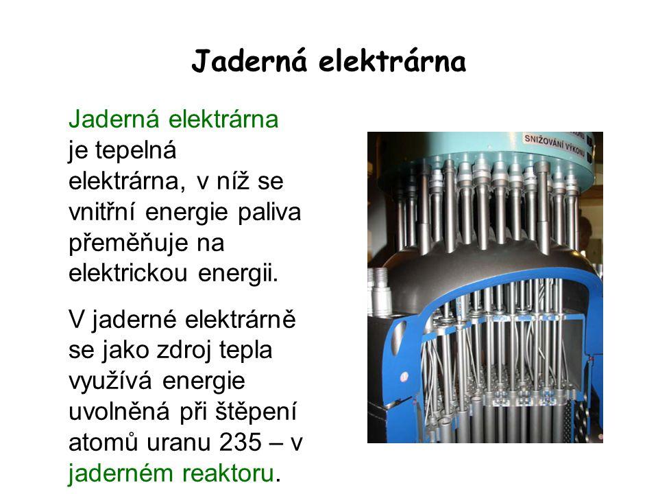 Jaderná elektrárna Jaderná elektrárna je tepelná elektrárna, v níž se vnitřní energie paliva přeměňuje na elektrickou energii. V jaderné elektrárně se
