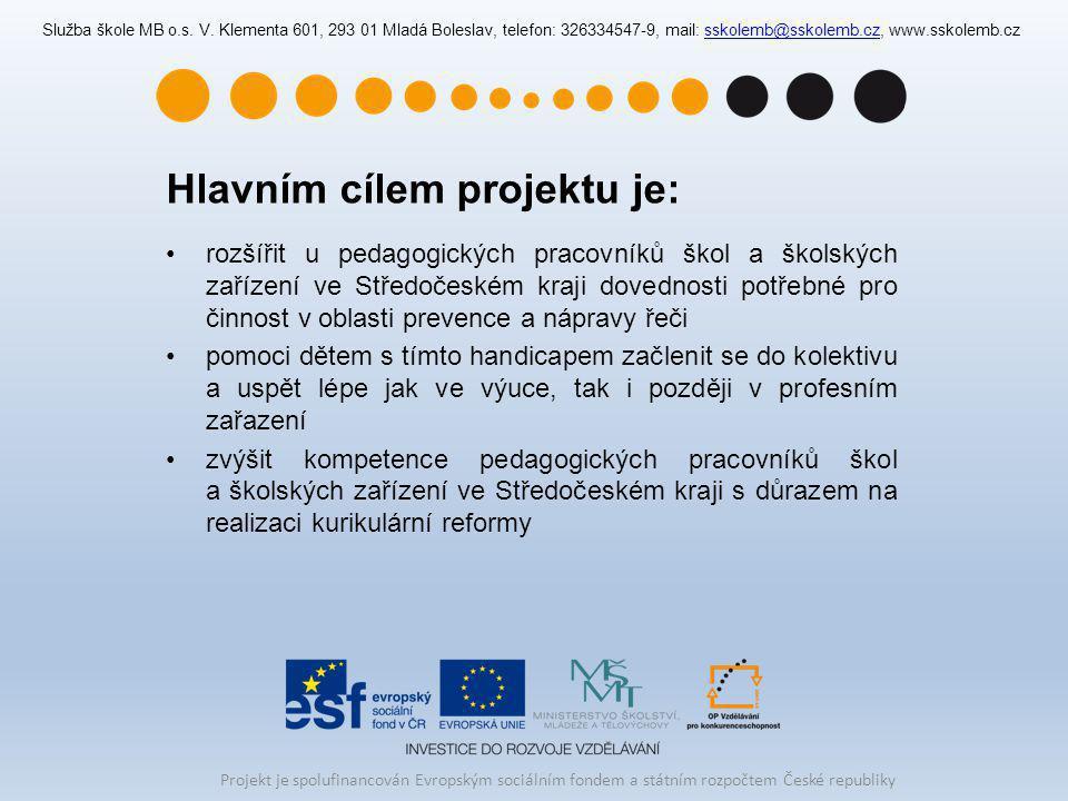 Hlavním cílem projektu je: rozšířit u pedagogických pracovníků škol a školských zařízení ve Středočeském kraji dovednosti potřebné pro činnost v oblas