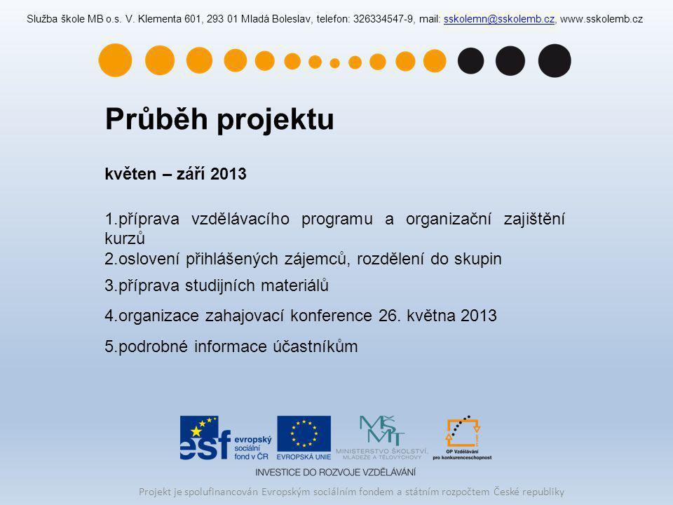 Průběh projektu květen – září 2013 1.příprava vzdělávacího programu a organizační zajištění kurzů 2.oslovení přihlášených zájemců, rozdělení do skupin