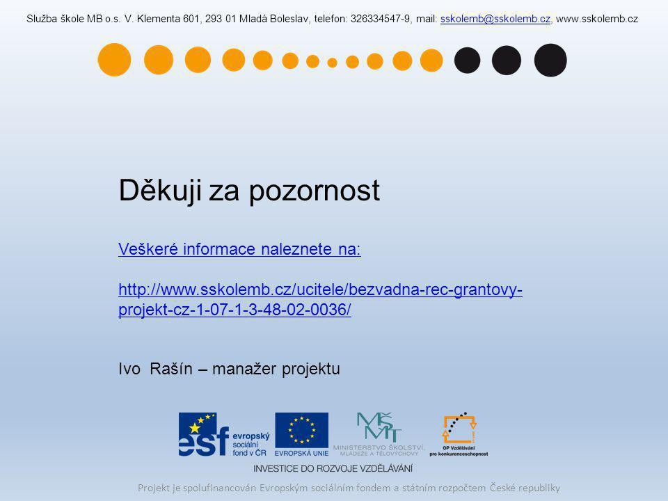 Služba škole MB o.s. V. Klementa 601, 293 01 Mladá Boleslav, telefon: 326334547-9, mail: sskolemb@sskolemb.cz, www.sskolemb.czsskolemb@sskolemb.cz Děk
