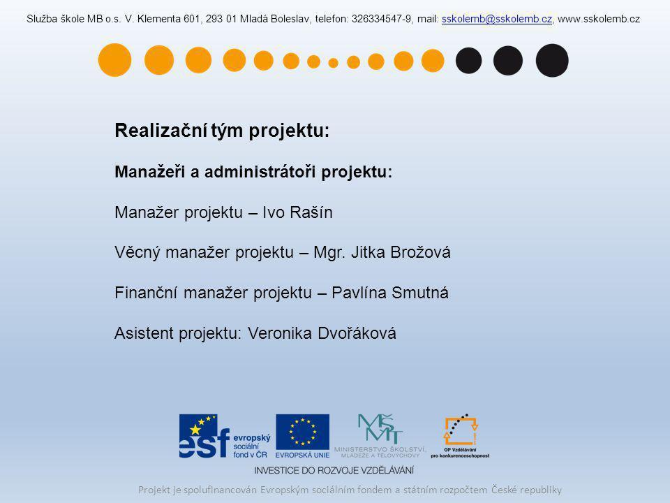 Realizační tým projektu: Manažeři a administrátoři projektu: Manažer projektu – Ivo Rašín Věcný manažer projektu – Mgr. Jitka Brožová Finanční manažer