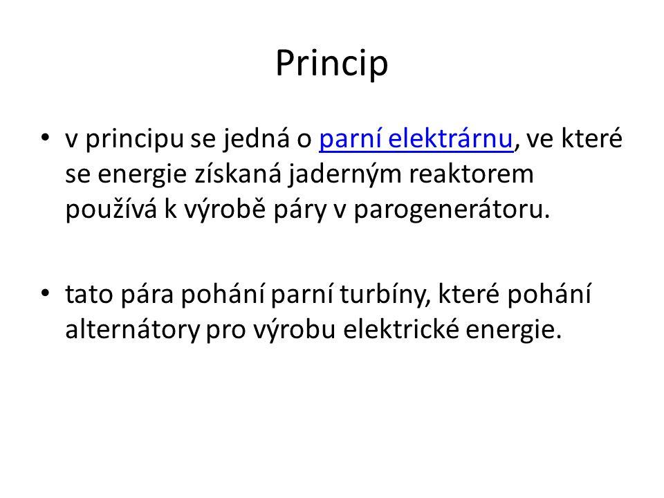 Princip v principu se jedná o parní elektrárnu, ve které se energie získaná jaderným reaktorem používá k výrobě páry v parogenerátoru.parní elektrárnu tato pára pohání parní turbíny, které pohání alternátory pro výrobu elektrické energie.