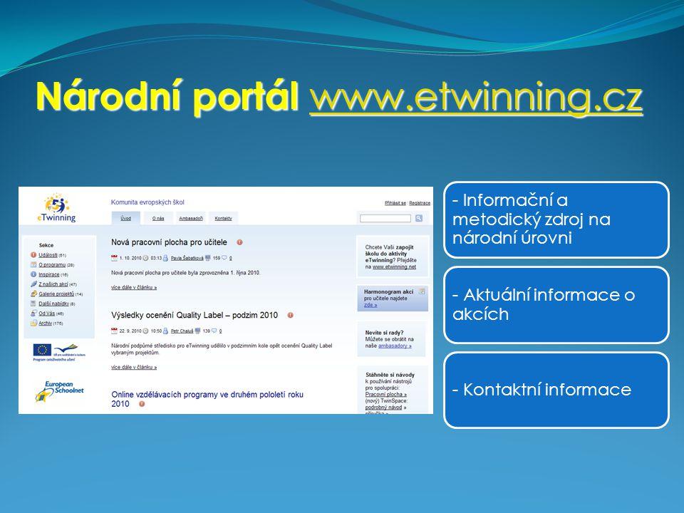 Národní portál www.etwinning.cz www.etwinning.cz - Informační a metodický zdroj na národní úrovni - Aktuální informace o akcích - Kontaktní informace