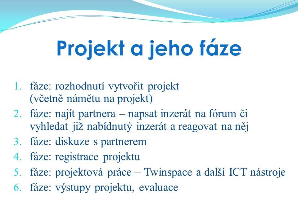 Projekt a jeho fáze 1. fáze: rozhodnutí vytvořit projekt (včetně námětu na projekt) 2. fáze: najít partnera – napsat inzerát na fórum či vyhledat již