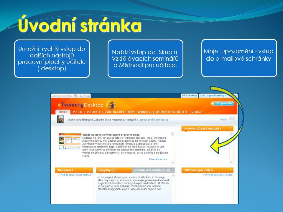 Úvodní stránka Umožní rychlý vstup do dalších nástrojů pracovní plochy učitele ( desktop) Nabízí vstup do Skupin, Vzdělávacích seminářů a Místností pr