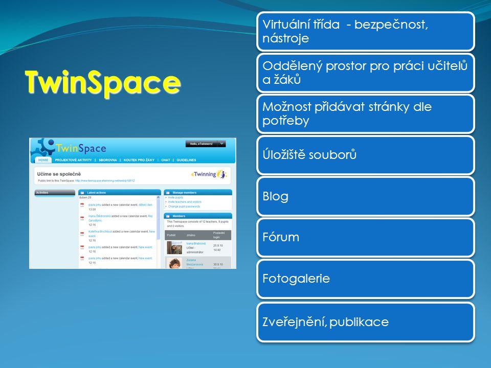TwinSpace Virtuální třída - bezpečnost, nástroje Oddělený prostor pro práci učitelů a žáků Možnost přidávat stránky dle potřeby Úložiště souborůBlogFó