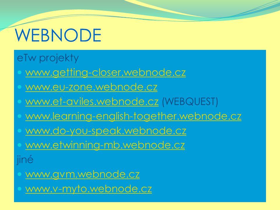 WEBNODE eTw projekty www.getting-closer.webnode.cz www.eu-zone.webnode.cz www.et-aviles.webnode.cz (WEBQUEST) www.et-aviles.webnode.cz www.learning-en