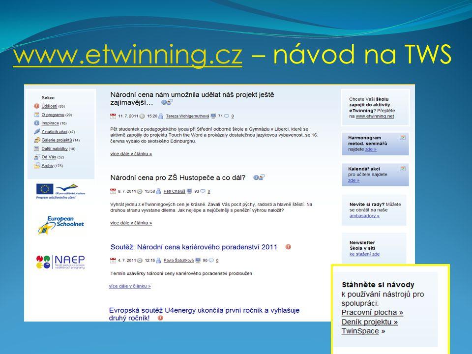 www.etwinning.czwww.etwinning.cz – návod na TWS