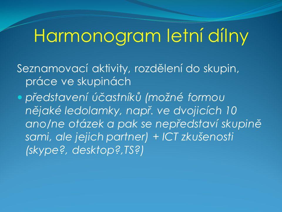 Harmonogram letní dílny Seznamovací aktivity, rozdělení do skupin, práce ve skupinách představení účastníků (možné formou nějaké ledolamky, např.